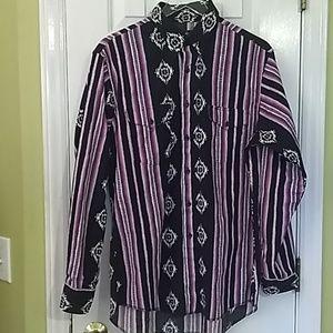 VTG Wrangler Cowboy purple Aztec shirt W054T